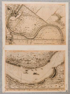 Tevere. Pianta del fiume da Castel S. Angelo a Ponte Milvio e dettaglio di una parte della pianta presso la vigna di Papa Giulio II