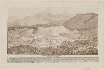 La  Vue de Schindelegi pres d'Einsiedeln dessinée le jour du combat, 2 may 1798... : [estampe]