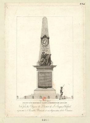 Projet d'un monument elevé à l'honneur de Louis XVI voté par les citoyens du district de S. Jacques l'Hopital, et presenté à l'Assemblée nationale et aux représentans de la commune : [estampe]