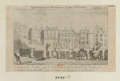 Procession en mémoire du maire d'Etampes le dimanche 3 juin 1792 le cortège partit de l'extremité des boulevards, à la place de la Bastille, pour se rendre au Champ de la Fédération : [estampe]