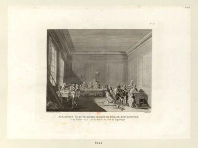 Assassinat de Le Pelletier, maison de Février restaurateur le 20 janvier <em>1793</em>, ou 30 nivôse an I.er de la République : [estampe]