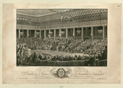 Assemblée Nationale abandon de tous les privilèges, à Versailles, séance de la nuit du <em>4</em> au 5 aout <em>1789</em> [présentée et dédiée à l'Assemblée nationale, le 19 octobre 1790, par Helman,...] : [estampe]
