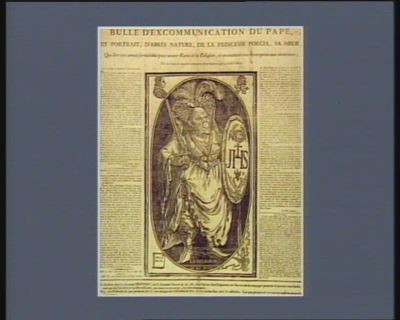 Bulle d'excommunication du pape, et portrait, d'après nature, de la princesse Porcia, sa soeur [estampe]