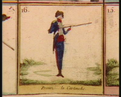 Jeu des exercices militaires de l'infanterie française et des manoeuvres du canon présente au Comité militaire, à celui d'instruction et à l'Assemblée nationale : [estampe]