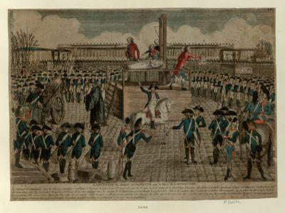 Exécution de Marie Antoinette sur la place de la Révolution le Tribunal révolutionnaire, tous témoins entendus, a condamné à la peine de mort, le 18 8bre 1793, 25.e jour du 1.er mois de la 2.e année de la Republique française, cette femme criminelle... : [estampe]