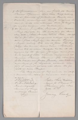 Contract with Phineas Barnum, 1849 (Swedish translation)