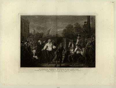 Le  Dernier moment de la vie du roy Louis XVI encouragé par son confesseur Edgeworth a la vue de son supplice tandis que le général Santerre en presse <em>l'exécution</em> le 21 janvier <em>1793</em> : [estampe]