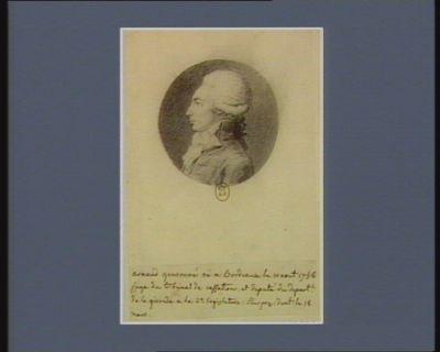 Arnaud Gensonne né à Bordeaux le 10 août 1758 juge du tribunal de cassation et député du départ.t de la Gironde à la 2.<em>e</em> legislature, élu président le 18 mars : [dessin]