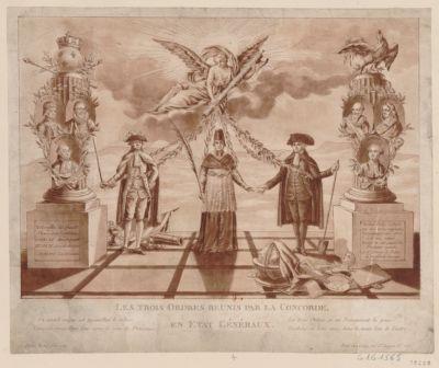 Les  Trois Ordres reunis par la concorde, en Etat généraux un intérêt unique est aujourd'hui le nôtre ; unissons-nous donc tous sous le nom de français Les Trois Ordres en un Rameneront la paix ; touchons, en bons amis, dans la main l'un de l'autre : [estampe]