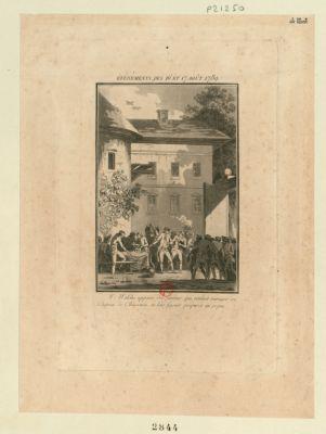 Evénements des 16 et 17 août <em>1789</em> M. Walche appaise des furieux, qui veulent ravager son chateau de Chassenon, en leur faisant préparer un repas : [estampe]