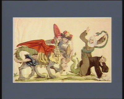 Un Monstre a trois têtes désignant les trois Etats de l'aristocratie s'occupe à devorer le reste du cadavre du peuple qu'il à englouti impitoyablement dans ses entrailles carnivores il est précédé du fanatisme aux queus de dragon et qui est vêtu d'un froc monacal, il porte à califourchon sur son dos l'hypocrisie pressante, un serpent qui distile son poison aristocratique : [estampe]