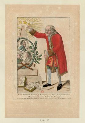 Marie François Arrouet de Voltaire né <em>a</em> Paris en novembre 1695 mort dans la meme ville le 30 mai 1778 [estampe]