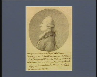 Jacques de Clermont Mont-Saint-Jean marquis de Labatie en Savoye ch.er de l'Ordre royal militaire de Saint Louis, colonel des chasseurs né à Vis-Argent en Bresse en 8.bre 1752, député de la noblesse du Bugée aux Etats généraux de 1789 : [dessin]