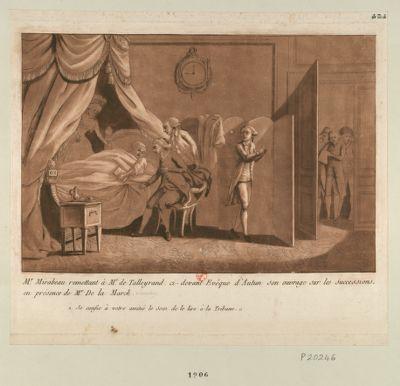 Mr Mirabeau remettant à Mr de Talleyrand, ci-devant evêque d'Autin son ouvrage sur les successions, en présence de Mr De La Mark je confie à votre amitié le soin de la lire à la tribune : [estampe]