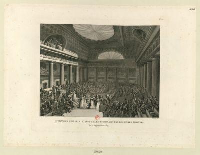 Offrandes faites à l'Assemblée nationale par des dames artistes le 7 septembre 1789 : [estampe]