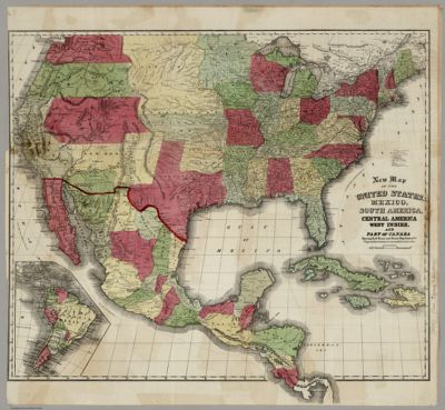 New Map Of The United States, Mexico, South America, Central ...
