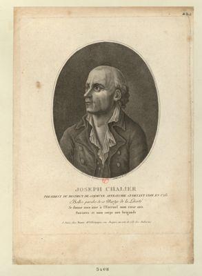 Joseph Chalier président du district de commune affranchie ci-devant Lyon, en 1793 : belles paroles de ce martyr de la liberté, je donne mon âme à l'Eternel mon coeur aux patriotes et mon corps aux brigands : [estampe]