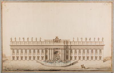 Fontana di Trevi e palazzo Poli. Progetto di sistemazione