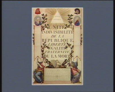 Unité, indivisibilité de la République, liberté égalité, fraternité ou la mort calendrier pour l'an 2.eme de la Republique française : [estampe]