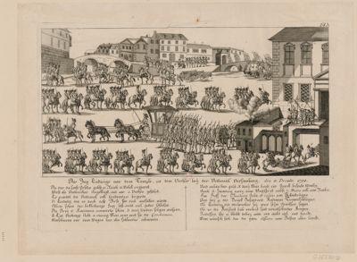"""Der  Zug Ludwigs aus dem Temple, zu dem Verhör bey"""" der National Versamlung den 11 Dec.mbr. 1792 [estampe]"""