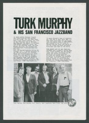 Program advertising Turk Murphy Jazz Band tour of Germany
