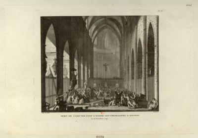 Mort de L'Escuyer dans l'église des Cordelliers à <em>Avignon</em> le 16 octobre <em>1791</em> : [estampe]
