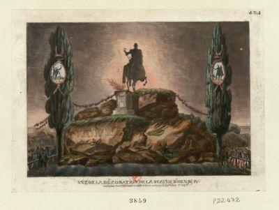 Vue de la decoration de la statue d'Henri IV [estampe]