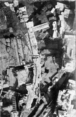 Roman Forum, aerial view of the area around the Lapis Niger after the excavation of 1900