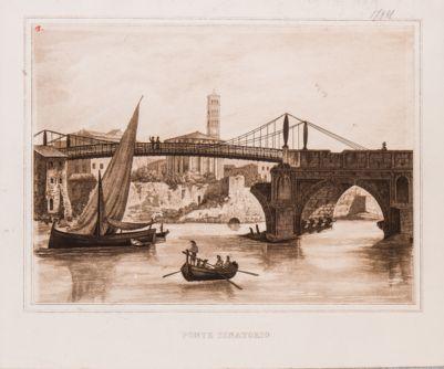 Ponte Rotto o Emilio, parte del ponte riaperto al transito mediante l'aggiunta di una parte pensile in ferro