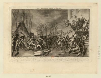 Fait historique arrivé a Avignon on voit l'escalier du chateau d'Avignon, sur lequel sont les soldats brigands de Jourdan qui casent la tête, ou égorgent les prisonniers... : [estampe]