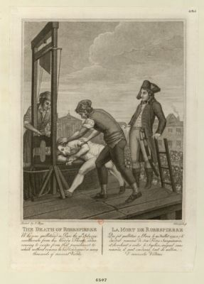 The  Death of <em>Robespierre</em> who was guillotined in Paris the 28th July 1794 verthrown from his bloody throne... : [estampe]