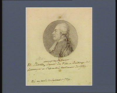 M. Martin avocat au Parlement député des ville et baillage de B esançon à l'Assemblée nationale de 1789 né au mois de septembre 1729 : [dessin]