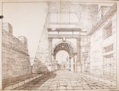 Arco di Tito e costruzioni contigue viste dalla via Sacra