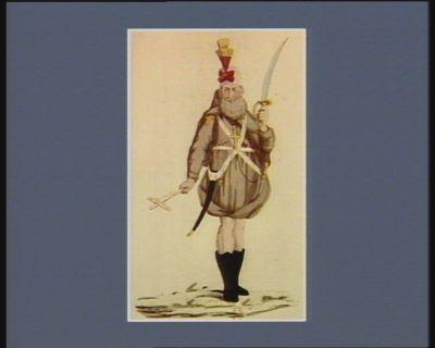 Costume d'un tres R.P. capucin de l'armée des croisées belgiques tel qu'il s'est trouvé a la bataille de Falmagne le 28 7.bre 1790 : [estampe]