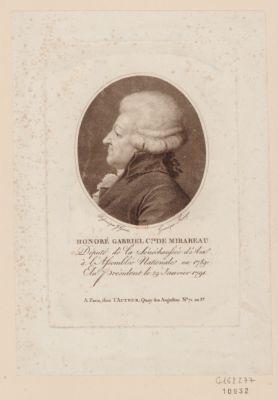 Honoré Gabriel c.te de Mirabeau député de la sénéchaussée d'Aix <em>à</em> l'Assemblée nationale en 1789, élu président le 29 janvier 1791, mort le 2 avril 1791 : [estampe]