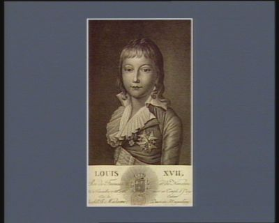 Louis XVII Roi de <em>France</em> et de Navarre né à Versailles 27 mars 1785 mort au Temple 8 j.in 1795 tiré du cabinet de S.A.R. Madame duchesse d'Angoulême : [estampe]