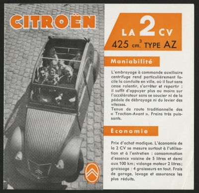 Citroën 2CV brochures, news clippings, technical information and ephemera