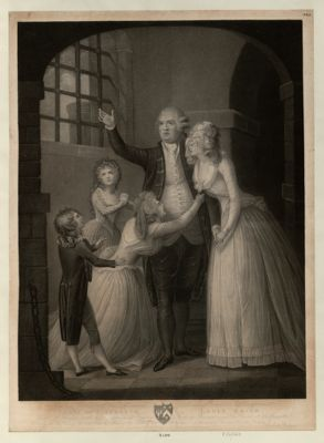 <em>The</em>  last Interview of <em>the</em> Unfortunate Lewis <em>the</em> Sixteenth King of France with his Queen and Family [estampe]