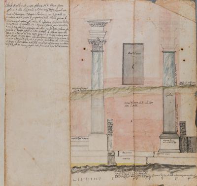 Tempio di Romolo, colonne avanti l'oratorio della Via Crucis