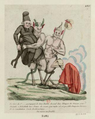 Le  Curé de St ....... accompagné de deux diables descend dans l'empire des démons pour demander a Belzebuth leurs princes des secours pour tacher s'il est possible d'empecher l'éxécution de la Constitution civile ecclésiastique. Ou va-t'en au diable [estampe]