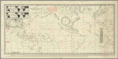 Gatty's combined world and star chart for emergency navigation