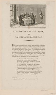 Le  Repas des ecclésiastiques, ou la tolérance paternelle un prêtre catholique invita un ministre de la confession d'Augsbourg, & un ministre réformé à diner chez lui... : [estampe]