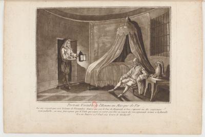 Portrait Veritable de l'Homme au Masque de Fer Les uns croyent que c'est le Comte de Vermandois d'autres que c'est le Duc de Monmouth et tous s'apuient sur des conjectures vraisemblables ; on nous fait esperer que le Voile qui couvre ce secret sera levé au moyen des renseignements trouvés <em>a</em> la Bastille. Il <em>a</em> été Enterré <em>a</em> St Paul sous le nom de Machyali : [estampe]