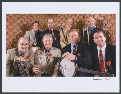 San Francisco Traditional Jazz Foundation Band at Charlie Campbell's birthday party 2005: Jim Cullum, Ray Cadd, Leon Oakley, Marty Eggers, Bill Carter, John Gill, Tom Bartlett and Clint Baker