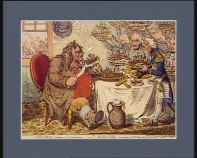 John Bull taking a lunchen or British cramming old grumble-gizzard with bonne chère [estampe]