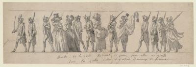 <em>Marche</em> de la Garde national de Paris, pour aller a <em>Versaille</em> dans les quelles distric il y avait beaucoup de femme [dessin]