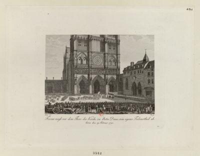 Favras muss vor dem Thore der Kirche zu Notre Dame sein eigenes Todesurtheil ablesen den 19 Februar 1790 [estampe]
