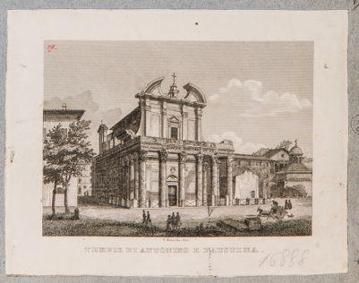 Tempio di Antonino e Faustina, prospetto di scorcio e fiancata verso levante