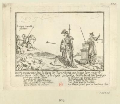 Marie Antoinette sous la figure de Thémis les traits que la rage lance contre elle vienent ce briser contre l'egide de la Sagesse qui la protege, l'âme d'Antoinnette, dedie aux honnete gens... : [estampe]