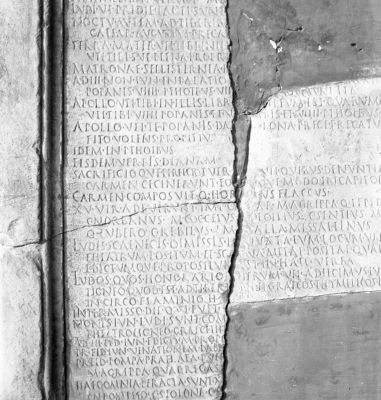 Ara Ditis Patris et Proserpinae, part of the inscription with a mention of the carmen saeculare written by Q. Horatius Flaccus